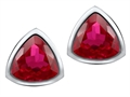Original Star K 7mm Trillion Cut Created Ruby Earring Studs