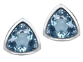 Original Star K 7mm Trillion Cut Simulated Aquamarine Earring Studs