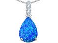 Original Star K Large 14x10mm Pear Shape Created Blue Opal Pendant