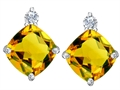 Original Star K 7mm Cushion Cut Genuine Citrine Earring Studs