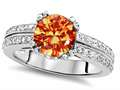 Original Star K™ Round 7mm Simulated Orange Mexican Fire Opal Wedding Ring
