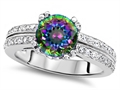 Original Star K Round 7mm Rainbow Mystic Topaz Engagement Wedding Ring