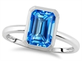 Tommaso Design 8x6mm Emerald Octagon Cut Genuine Blue Topaz Engagement Solitaire Ring