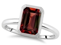 Tommaso Design 8x6mm Emerald Octagon Cut Genuine Garnet Engagement Solitaire Ring