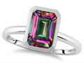 Tommaso Design 8x6mm Emerald Octagon Cut Rain Mystic Topaz Engagement Solitaire Ring