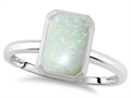 Tommaso Design™ 8x6mm Emerald Octagon Cut Genuine Opal Engagement Solitaire Ring