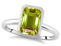 Tommaso Design™ 8x6mm Emerald Octagon Cut Genuine Peridot Engagement Solitaire Ring