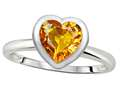 Tommaso Design™ 7mm Heart Shape Genuine Citrine Engagement Solitaire Ring