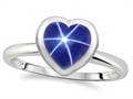 Tommaso Design 7mm Heart Shape Created Star Sapphire Engagement Solitaire Ring