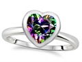 Tommaso Design 7mm Heart Shape Rainbow Mystic Topaz Engagement Solitaire Ring