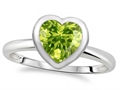 Tommaso Design 7mm Heart Shape Genuine Peridot Engagement Solitaire Ring