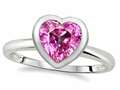 Tommaso Design 7mm Heart Shape Created Pink Sapphire Engagement Solitaire Ring