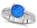Original Star K™ Round 7mm Simulated Blue Opal Engagement Wedding Ring