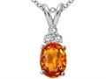 Tommaso Design 8x6mm Oval Genuine Orange Sapphire and Diamond Pendant