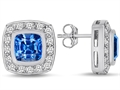 Original Star K™ 7mm Cushion Cut Simulated Blue Topaz Earring Studs