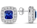 Original Star K 7mm Cushion Cut Created Sapphire Earring Studs