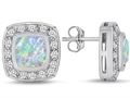 Original Star K™ 7mm Cushion Cut Created Opal Earring Studs