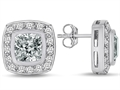 Original Star K™ 7mm Cushion Cut Genuine White Topaz Earring Studs