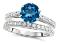 Original Star K Round 7mm Genuine Blue Topaz Engagement Wedding Ring