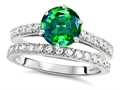 Original Star K Round 7mm Simulated Emerald Engagement Wedding Ring