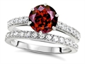 Original Star K Round 7mm Genuine Garnet Engagement Wedding Ring