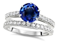 Original Star K Round 7mm Created Sapphire Engagement Wedding Ring