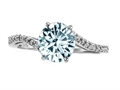 Tommaso Design™ Round 7mm Genuine Aquamarine and Diamonds Ring