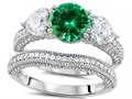 Original Star K Round 7mm Simulated Emerald Engagement Wedding Set