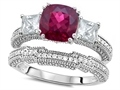 Original Star K Cushion Cut 7mm Created Ruby Engagement Wedding Set