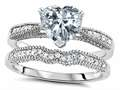 Original Star K Heart Shape 7mm Genuine White Topaz Engagement Wedding Set