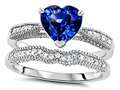 Original Star K™ Heart Shape 7mm Created Sapphire Engagement Wedding Set