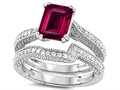 Original Star K Emerald Cut 8x6mm Created Ruby Engagement Wedding Set