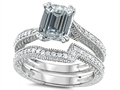 Original Star K™ Emerald Cut 8x6mm Genuine White Topaz Engagement Wedding Set