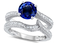 Original Star K Round 7mm Created Sapphire Engagement Wedding Set