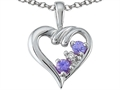 Tommaso Design Round Genuine Tanzanite and Diamond Heart Pendant