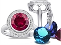 Switch-It Gems Round 10mm Simulated Ruby Ring with 12 Interchangeable Simulated Birthstones