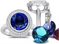 Switch-It Gems Round 10mm Simulated Sapphire Ring with 12 Interchangeable Simulated Birthstones