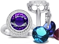 Switch-It Gems Round 10mm Simulated Amethyst Ring with 12 Interchangeable Simulated Birthstones