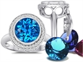 Switch-It Gems™ Round 10mm Simulated Blue Topaz Ring with 12 Interchangeable Simulated Birthstones