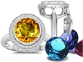 Switch-It Gems Round 10mm Simulated Citrine Ring with 12 Interchangeable Simulated Birthstones