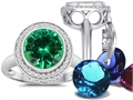 Switch-It Gems Round 10mm Simulated Emerald Ring with 12 Interchangeable Simulated Birthstones