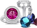 Switch-It Gems™ Round 10mm Simulated Pink Tourmaline Ring 12 Interchangeable Simulated Birth Months
