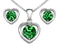 Original Star K™ Round Simulated Emerald Heart Earrings with Free Box Set matching Pendant