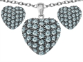 Original Star K™ Simulated Aquamarine Puffed Heart Love Pendant with matching earrings