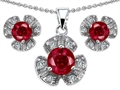 Original Star K Created Ruby Flower Pendant Box Set With Matching Earrings