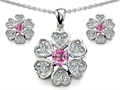Original Star K™ Created Pink Sapphire Flower Pendant With Matching Earrings