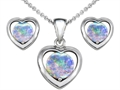 Original Star K Round Created Opal Heart Earrings with Free Box Set matching Pendant