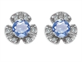 Original Star K Flower Earrings With Round 5mm Simulated Aquamarine