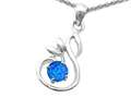 Original Star K Round Created Blue Opal Swan Pendant