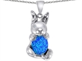 Original Star K Love Bunny Pendant With Created Blue Opal Oval 10x8mm